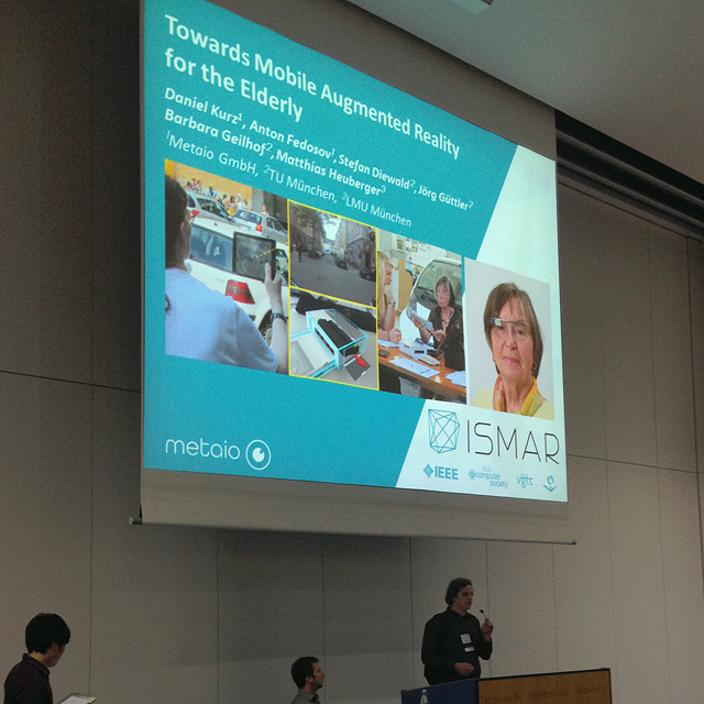 Daniel Kurz @ ISMAR 2014: Towards Mobile Augmented Reality for the Elderly