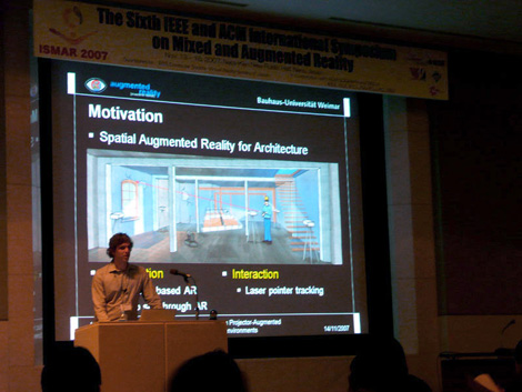 Daniel Kurz @ ISMAR 2007: Laser-Pointer Tracking in Projector-Augmented Architectural Environments